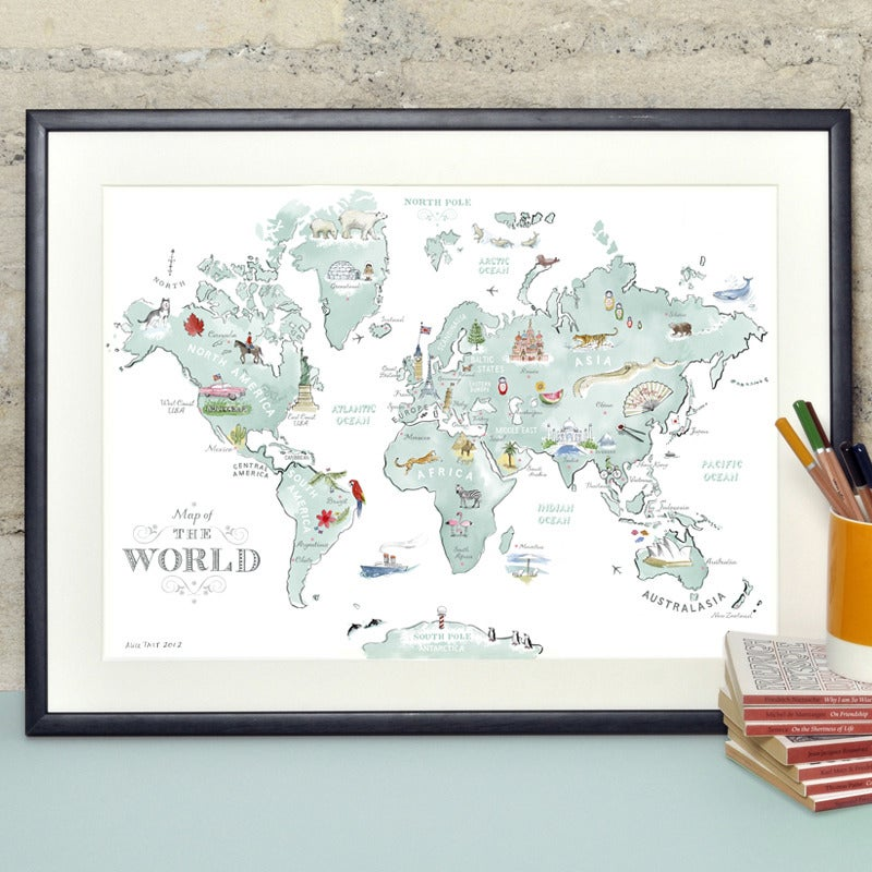 World Map Image For Print.  Alice Tait Illustrated World Map Print Shop