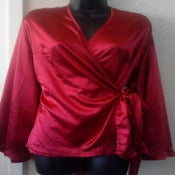 Image of Ashley Stewart Red Bell Sleeve Wrap Top 18/20