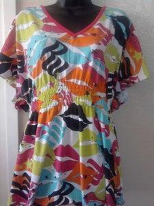 Image of Rocawear Neon Lips & Rhinestones Top Sz XL