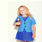 Image of NEW: Short sleeve sapphire gingham blazer