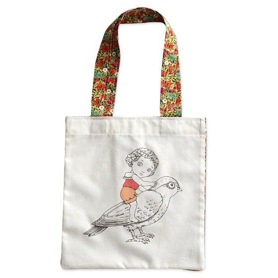 Image of Sac en coton Fille et oiseau 2