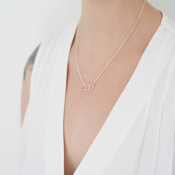 Image of Hex Bar Necklace - Silver