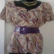 Image of Lane Bryant Multi Color Ruffle Peplum Blouse