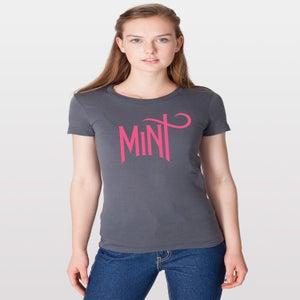 Image of Women's American Apparel Logo Tee - Neon Pink on Asphalt