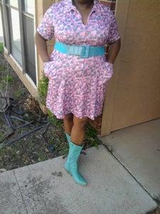 Image of Pink Floral Zip Dress