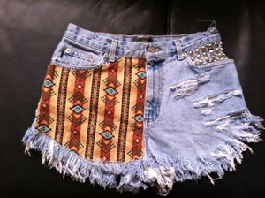 Image of Aztec studded pocket cut offs