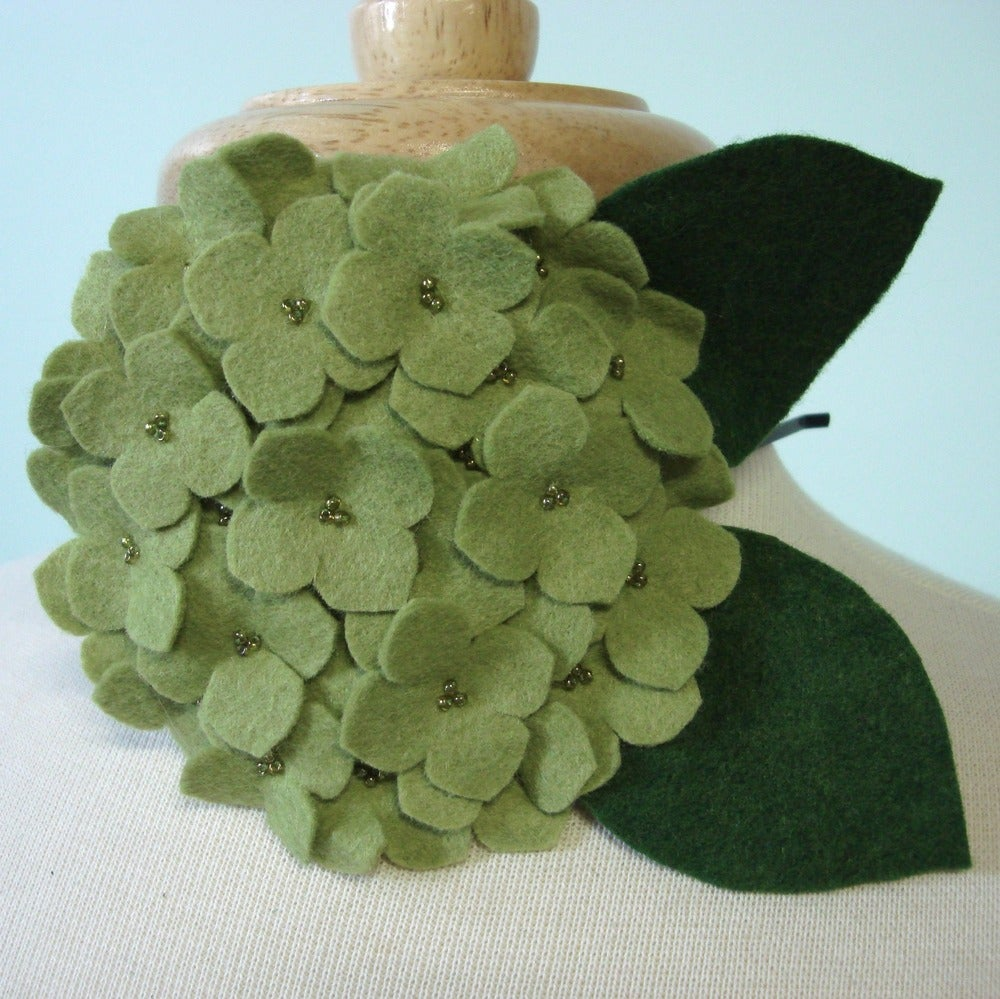 Image of large hydrangea // sprout green headband