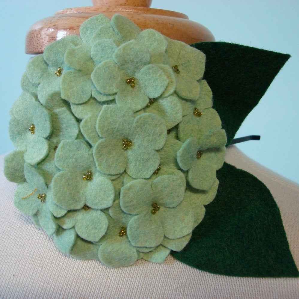 Image of large hydrangea // heathered aloe headband