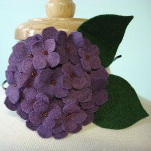 Image of large hydrangea // heathered red-violet headband