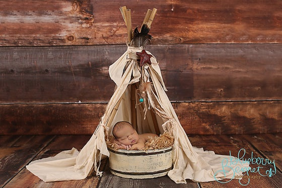 """Image of """"Vintage"""" looking and Whimsical Newborn Prop Teepee with Bamboo Poles"""
