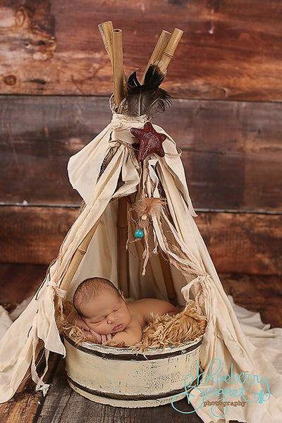 "Image of ""Vintage"" looking and Whimsical Newborn Prop Teepee with log Poles"