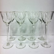 Image of Set of 8 Tall Etched Glasses