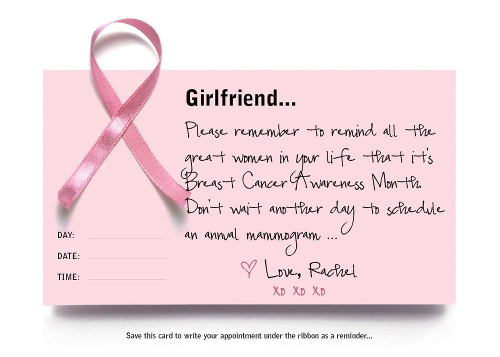 Image of Mammogram Reminder Cards (Breast Cancer Awareness Month)