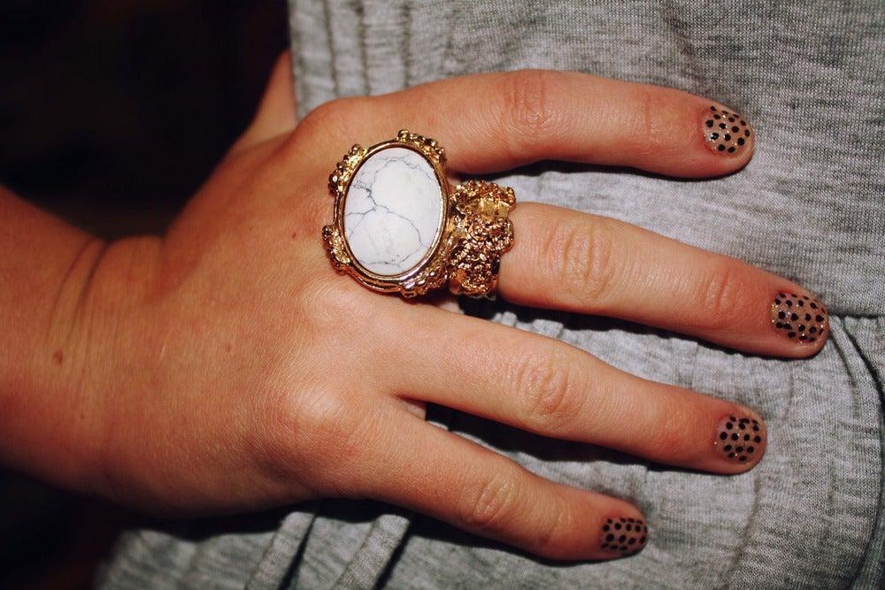 Image of Vintage Style Arty Designer Inspired Ring - White
