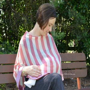 Image of Pretty Well Covered Coral Breastfeeding Coverlet / Maternity Top / Nursing Cover SALE