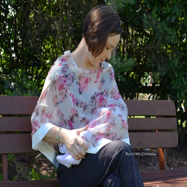 Image of Pretty Well Covered Vintage Rose Breastfeeding Coverlet / Maternity Top / Nursing Cover