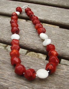 Image of Red Chunky Coral and White Onyx Necklace