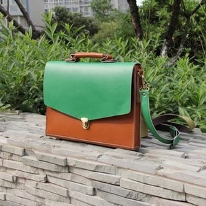 "Image of Handmade Leather Briefcase Portfolio Messenger 17"" MacBook Pro Case / Bag - Brown with Green (m05)"