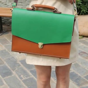 """Image of Handmade Leather Briefcase Portfolio 14"""" Laptop 13"""" 15"""" 17"""" MacBook Case Bag - Brown with Green #m05"""