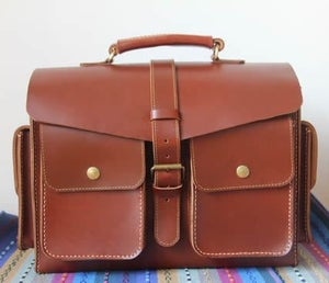 Image of Vintage Artisan Handmade Leather Tote Briefcase / Messenger Bag / Case (m52)