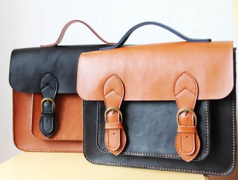 Image of Handmade Genuine Leather Satchel / Messenger Bag / Backpack - Couple Satchel (s6)