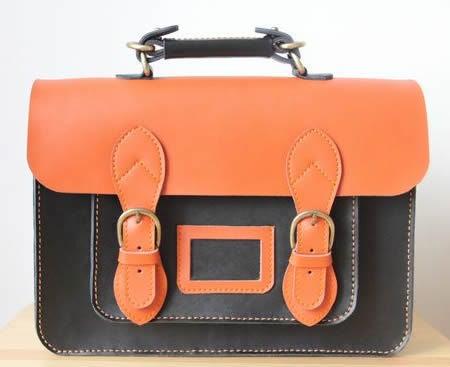Image of Handmade Genuine Leather Satchel / Messenger Bag / Backpack - Black with Orange (s8)