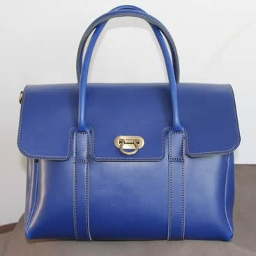 Image of Handmade Artisan Genuine Leather Women's Handbag Satchel Purse in Blue (m42b)