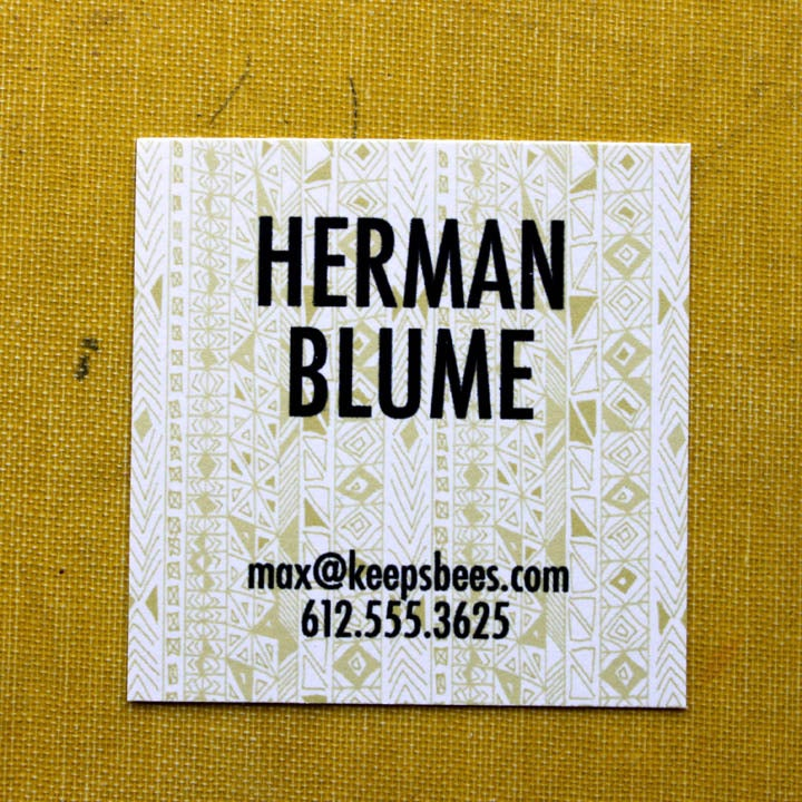 Image of  Square Calling Cards-Rude Boy print in Yellow Ochre