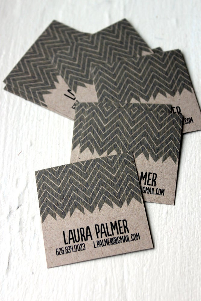 Image of Chevron Calling cards on Kraft