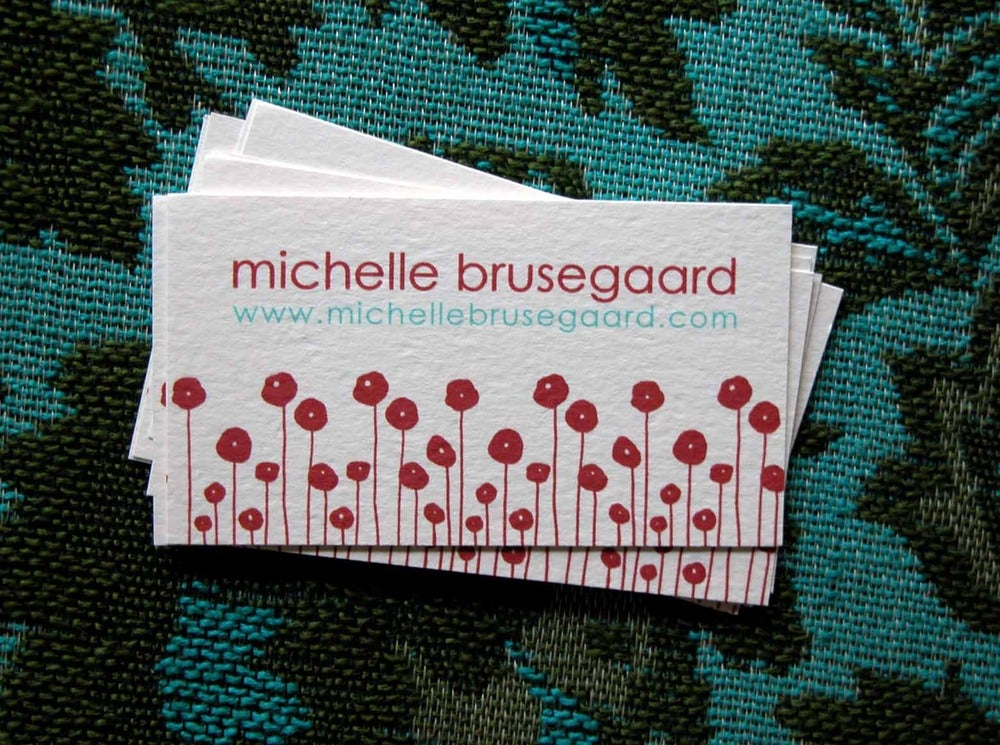 Image of  Red Poppies Calling Cards-large
