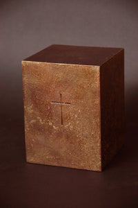 Image of Small bronze urn with cross
