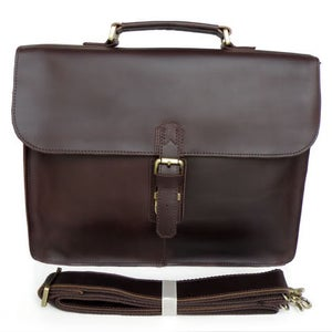 Image of Vintage Handmade Genuine Crazy Horse Leather Briefcase Laptop Messenger Bag in Dark Brown (n17)