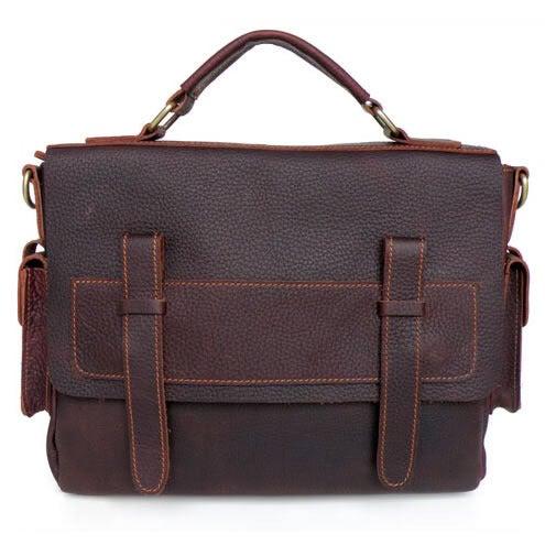 Image of Vintage Handmade Genuine Oil Tanned Leather Briefcase Messenger Laptop Bag in dark brown (n64)