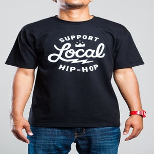 Image of *SOLD OUT* Support Local Hip-Hop - Black T-Shirt