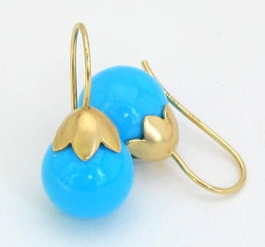 Image of Sleeping Beauty Turquoise Earrings 18k Morning Glory Pod 11MM