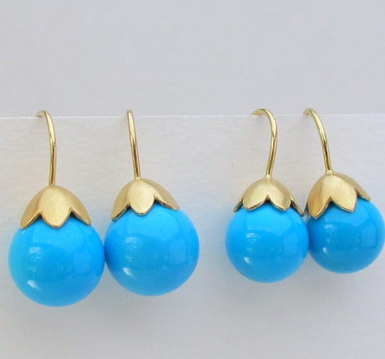 Image of Sleeping Beauty Turquoise Earrings 18k Morning Glory Pod 10MM