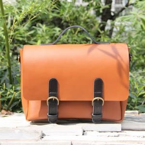 Image of Handmade Noble Genuine Leather Handbag Satchel Messenger Bag in Brown with Black - Unisex (m24)