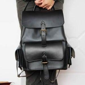 Image of Handmade Genuine Leather Backpack Day Pack Travel Bag in Black - Unisex (m33)
