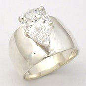 Image of Pear Shape CZ Ring in Silver