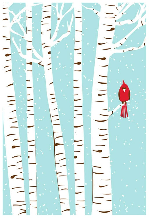strawberryluna  u2014 winter cardinal silkscreen birch  u0026 snow