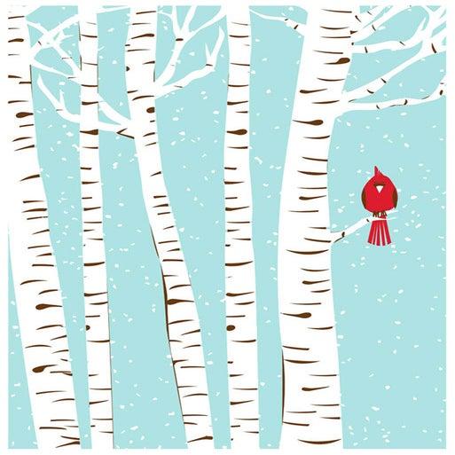 Image of Winter Cardinal Silkscreen Birch & Snow Art Print