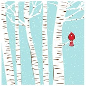 Image of Winter Cardinal Silkscreen Birch & Snow Art Print