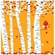 Image of Autumn Cardinal Silkscreen Birch Tree & Fall Leave Art Print