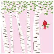 Image of Summer Cardinal Silkscreen Birch Trees Art Print