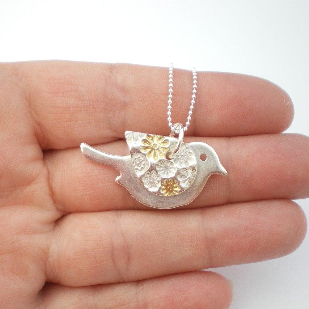 Alibalijewellery silver and gold flower bird pendant silver and gold flower bird pendant mozeypictures Gallery