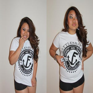 "Image of Fr3sh & Cakey ""BattleShittin'"" Women's T-Shirt in White"