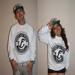 "Image of Fr3sh & Cakey ""BattleShittin'"" Crew Neck Sweater in White"