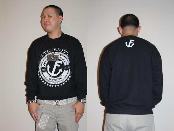 "Image of Fr3sh & Cakey ""BattleShittin'"" Crew Neck Sweater in Black"