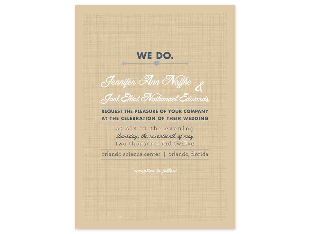 Image Of Linen Type Wedding Invitation And RSVP Card