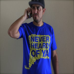 Image of Never Heard Of Ya T-Shirt - ROYAL BLUE w/ YELLOW INK